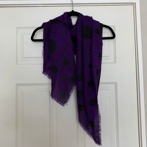 Purple and Black Polka Dot Scarf